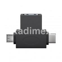 Преходник USB TYPE-C + Micro USB,М - USB 3.0 Ж