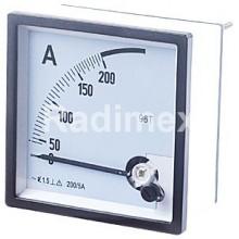 Аналогов панелен амперметър ASD72, 0-200 A/AC