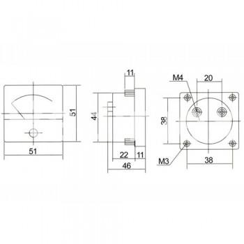 Аналогов панелен амперметър R034A, 0-15 A/DC