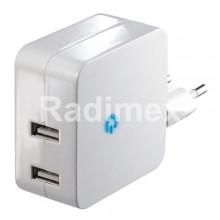 Адаптер 220V, 2 x USB 5V