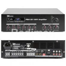 Усилвател 100V PBA120 (Bluetooth,USB, SD, AUX, FM, MIC, RC)