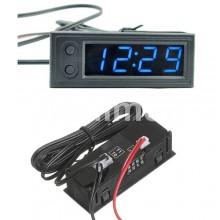 Цифров термометър за автомобил с часовник и волтметър